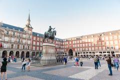 马德里西班牙- 2015年6月23日:广场马德里,西班牙市长, 图库摄影