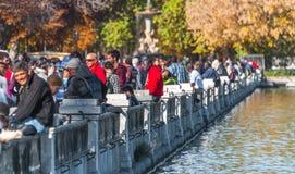 马德里,西班牙- 2013年11月9日, :旅游业在西班牙 喷泉是有很多人参加的在Retiro公园 人拍照片 免版税库存照片