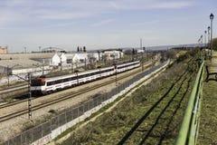 马德里,西班牙- 3月01 :去托雷洪de A的Renfe普通车 免版税库存图片