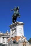 马德里,西班牙- AUGUST19 :对国王的纪念碑在马德里附近大教堂  免版税图库摄影
