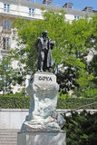 马德里,西班牙- AUGUST19 :对Goya的纪念碑在马德里在西班牙 免版税图库摄影