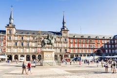 马德里, SPAIN-11, 2015年:广场其中一市长个-中心广场 图库摄影