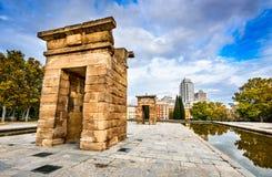 马德里, Spania - Debod寺庙  图库摄影