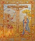 马德里-在十字架上钉死挂毯在Iglesia catedral de las fuerzas舰队de西班牙的 免版税库存照片