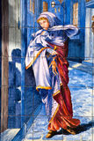 马德里- 12月象征性作为冷淡的妇女在陶瓷板材风化 库存图片