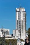 马德里2016年11月13日的塔摩天大楼在马德里,西班牙 库存图片