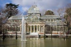 马德里-水晶宫在Buen Retiro公园 免版税库存图片