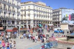 马德里 Square普埃尔塔del Sol 免版税库存照片
