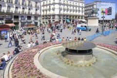 马德里 Square普埃尔塔del Sol 免版税库存图片