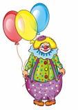 马戏团小丑和气球 免版税库存图片