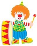 马戏团小丑鼓手 图库摄影