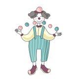 马戏团演员 人小丑玩杂耍的球 传染媒介例证,隔绝在白色背景 向量例证