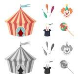 马戏场帐篷,变戏法者钉头锤,小丑,魔术师帽子 在动画片,单色样式传染媒介标志的马戏集合汇集象 免版税库存照片
