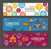 马戏游乐园横幅卡片票 向量 免版税库存图片