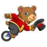 马戏熊骑马单轮脚踏车 库存例证