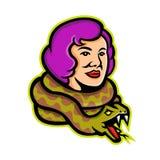 马戏离经叛道之人的蛇夫人Mascot 库存照片