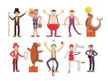 马戏艺术家漫画人物传染媒介集合 杂技演员和大力士,魔术师,小丑,训练了动物 向量例证