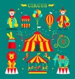 马戏设置与小丑、大象、狮子、转盘、自行车和兔子在帽子 向量例证