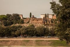 马戏马克西穆斯废墟在罗马,意大利 免版税库存照片