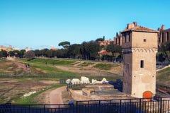 马戏Maximus Circo马西莫-赛跑体育场和大量娱乐地点的古老罗马运输车位于罗马 库存照片