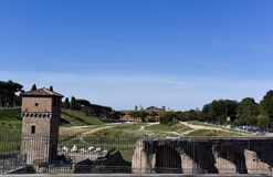 马戏Palatine小山,罗马,意大利Maximus.Ruins 库存图片