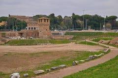 马戏Palatine小山,罗马,意大利Maximus.Ruins 免版税库存图片