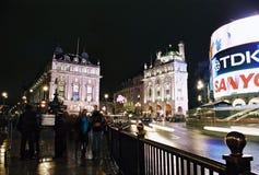 马戏picadilly伦敦晚上 免版税库存图片