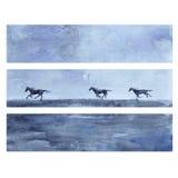 马手拉的水彩传染媒介摘要例证,与跑马,野生动物,模板的水平的横幅 向量例证