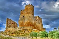 马扎里诺中世纪城堡,称U Cannuni,卡尔塔尼塞塔,西西里岛,意大利 免版税库存图片