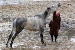 马抬头它的脖子 免版税库存图片