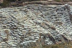 马拉什的盐池塘在库斯科,秘鲁 免版税库存照片