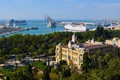 马拉加海港,西班牙看法  库存图片