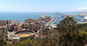 马拉加看法有广场的从鸟瞰图,西班牙的de Toros (斗牛场) 免版税图库摄影