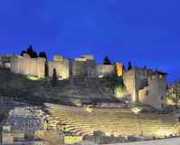 马拉加老罗马剧院 免版税库存照片