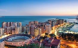 马拉加都市风景,太阳海岸,西班牙全景  库存图片