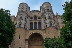 马拉加,安大路西亚,西班牙大教堂看法  库存照片
