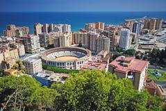 马拉加,西班牙全景 免版税库存图片