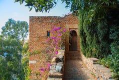 马拉加,西班牙- 2014年2月16日:有老中世纪的一个庭院 免版税库存图片