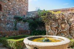 马拉加,西班牙- 2014年2月16日:有老石增殖比的一个庭院 库存照片