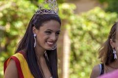 马拉加,西班牙- 8月, 14 :佛拉明柯舞曲样式博士的美丽的妇女 库存图片