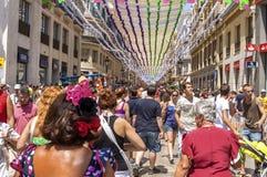 马拉加,西班牙- 8月, 14 :充分Larios街道的人 免版税图库摄影