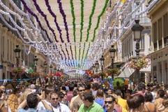 马拉加,西班牙- 8月, 14 :充分Larios街道的人 免版税库存图片