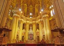 马拉加,西班牙- 2015年3月01日:马拉加大教堂内部  库存图片
