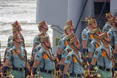 马拉加,西班牙- 4月09 :西班牙人在militar的Legionarios行军 免版税库存照片