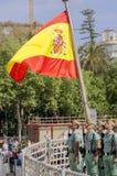 马拉加,西班牙- 4月09 :西班牙人在militar的Legionarios行军 免版税库存图片