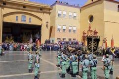 马拉加,西班牙- 4月09 :西班牙人在militar的Legionarios行军 免版税图库摄影