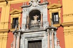 马拉加, ANDALUCIA/SPAIN - 2018年1月02日:巴洛克式的主教` s Pa 免版税库存照片