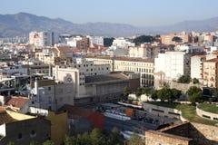 马拉加从Alcazaba设防的市视图 库存照片