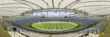 马拉卡纳体育场全景在里约热内卢,巴西 库存图片