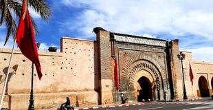 马拉喀什麦地那市墙壁- Bab Agnaou门 免版税图库摄影